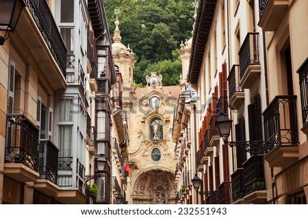 The church in the old town of San Sebastian, Spain. - stock photo