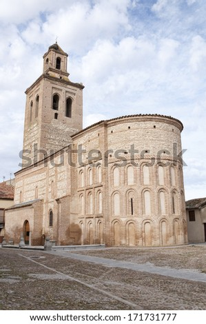The Church of Saint Mary Major in Arevalo (Avila province, Castile and Leon, Spain), is a church of Moorish style built between the late twelfth and early thirteenth century. - stock photo