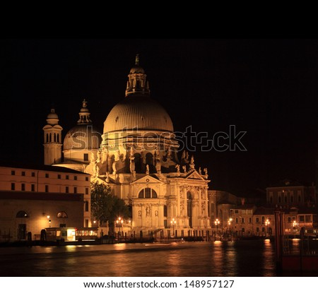 The church of Santa Maria della salute in Venice at night - stock photo
