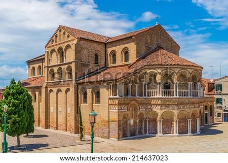 The Church of Santa Maria e San Donato at Murano Island in the venetian archipelago - stock photo