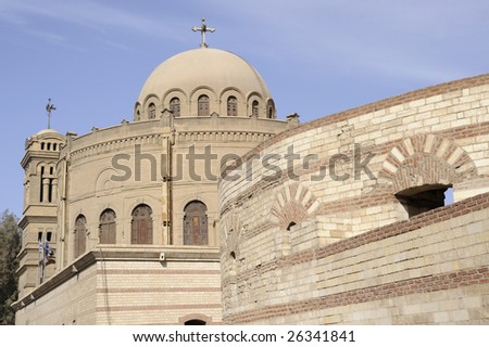 The Church of St. George in Coptic Cairo is the principal Greek Orthodox church of Egypt.  The present church dates from 1904. - stock photo
