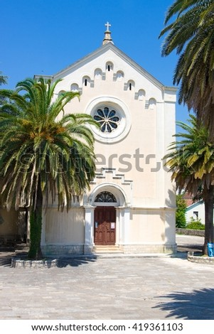 The Church of St. Ieronim and the bell tower, Herceg Novi, Montenegro - stock photo