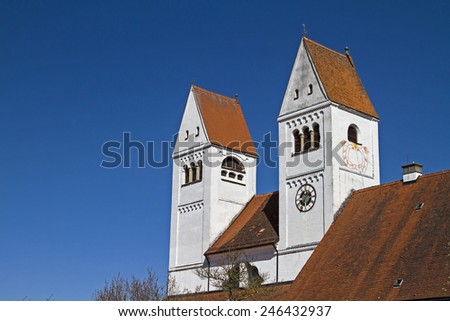 The Church of St. John Baptist in Steingaden  is considered one of the most important sights of the Pfaffenwinkel  - stock photo