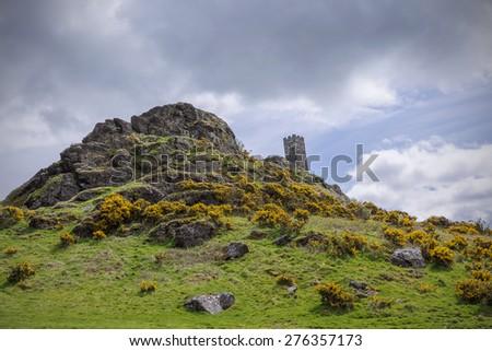 The Church of St Micheal de Rupe on Brentor, Dartmoor National Park, Devon England UK - stock photo