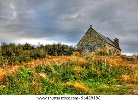 The Church of the Good Shepherd on Lake Tekapo, New Zeland - stock photo