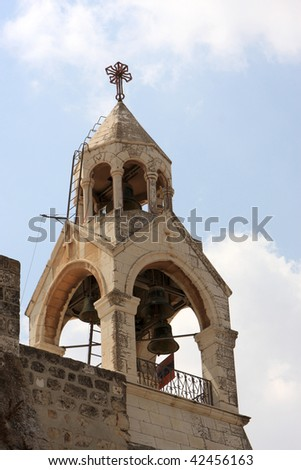 The Church of the Nativity is one of Bethlehem's major tourist attractions and a magnet for Christian pilgrims. - stock photo