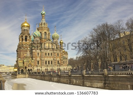 The Church of the Savior on Spilled Blood (Cathedral of the Resurrection of Christ) is one of the main sights of St. Petersburg, Russia - stock photo