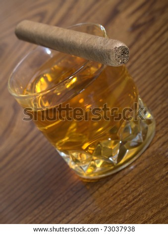The cigar and wiskey - stock photo