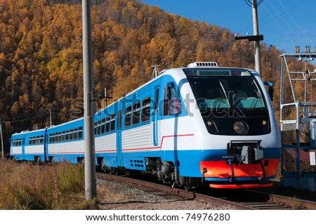 The Circum-Baikal Railway - historical railway runs along Lake baikal in Irkutsk region of Russia - stock photo