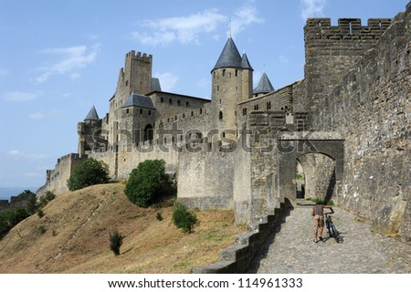 The Citadel of Carcassonne on France - stock photo