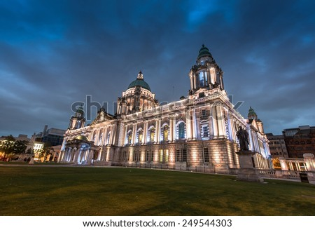 The city center of Belfast North Ireland, in the night - stock photo