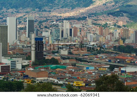 The city center of Medellin, the second biggest city in Colombia, which is the capital of the Department of Antioquia - stock photo