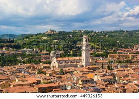 The city center of Verona Italy - stock photo