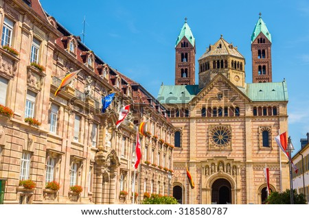 The city hall and the Cathedral of Speyer - Germany - stock photo