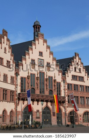the city hall Roemer in Frankfurt - stock photo