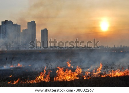 The city in fire - stock photo