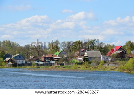 The city of Alexandrov,  home on the banks of the Grey river. Golden ring of Russia - stock photo