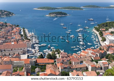 the city of hvar and its harbor at the adriatic sea in croatia - stock photo
