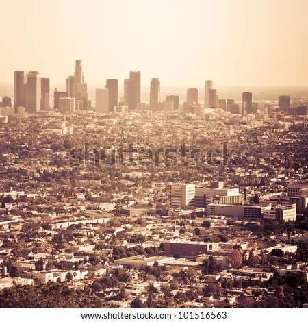 The city of Los Angeles as seen from Griffith Park Observatory - stock photo
