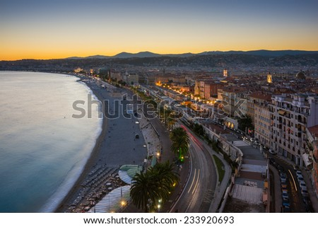 The city of Nice in the evening in French Riviera. - stock photo
