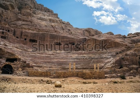 The city of Petra was lost for over 1000 years. Now one of the Seven Wonders of the Word - stock photo