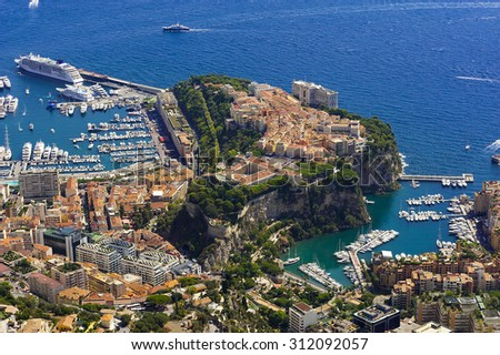 the city of principaute of monaco and monte carlo in the south of France - stock photo