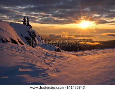 The city of Vancouver from Mt. Seymour in winter. - stock photo