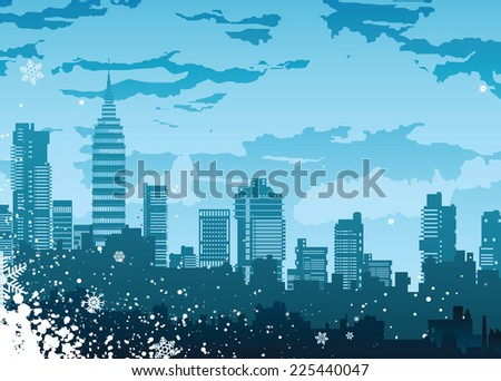 The city's skyline on the background of snowflakes - stock photo