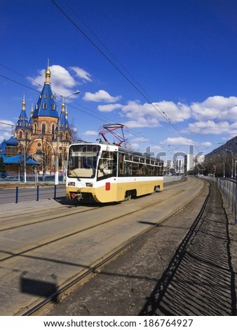 The city's tram on the street of Moscow, Russia - stock photo