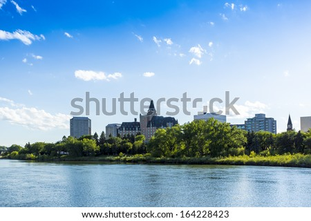 The city skyline of Saskatoon, Saskatchewan, Canada - stock photo