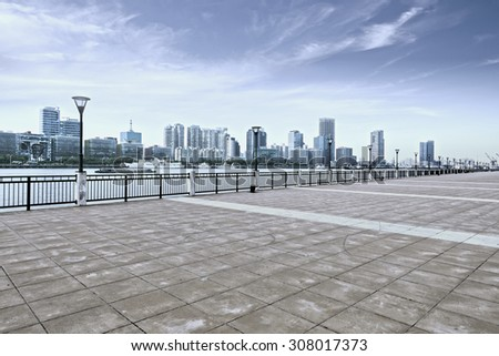 The city square in the evening - stock photo