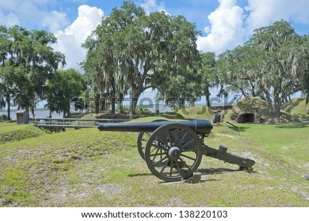 The Civil War Fort McAllister, now a State Historic Park, on the banks of the Ogeechee River just south of Savannah, Georgia. - stock photo
