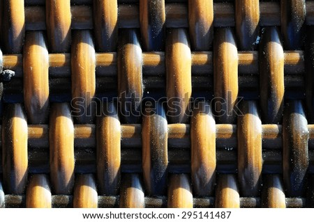 The Classic Brown Woven Rattan Background Pattern Texture - stock photo