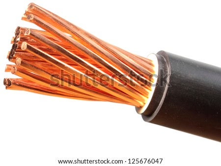 The cleared copper electric power cables with connectors - stock photo