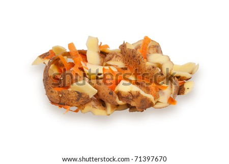 The cleared peel of a potato and carrots on a white background - stock photo