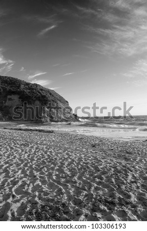 The Cliffs on the Coast of California - Black and White - stock photo