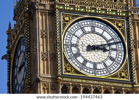 The clock face of Big Ben in London. - stock photo