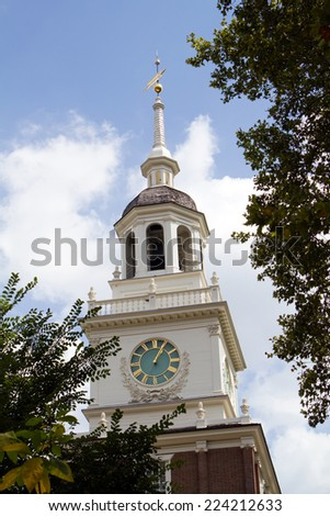 The clock tower of Independence Hall located in Philadelphia, Pennsylvania, USA, where the US Constitution was adopted. - stock photo