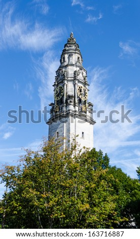 The Clock Tower of the National Museum in Cardiff - Wales, United Kingdom - stock photo