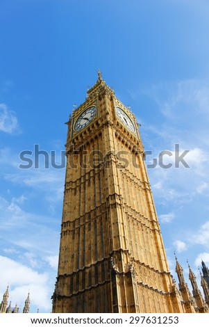 The clocktower of  Big Ben in Westminster, London, England - stock photo