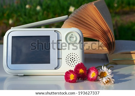 The close-up baby monitor for security of the baby  - stock photo