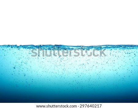 the Close up blue Water  bubbles on white background - stock photo