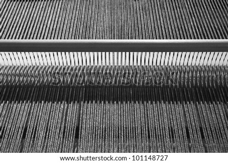The close-up details of the pattern of the fabrication textile. - stock photo