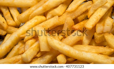 The close up of delicious french fries at food street market in Taipei, Taiwan. - stock photo