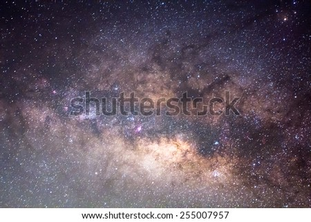 The Close up Of The Milky Way ,Long exposure photograph. - stock photo