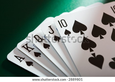 the close up of the poker cards - stock photo