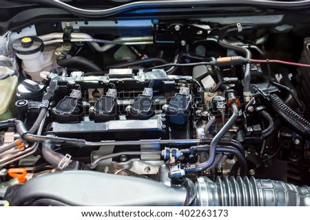 The closed up of car's engine room - stock photo