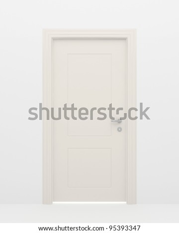 The closed white door and light behind a door - stock photo