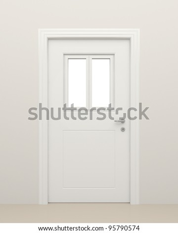 The closed white door with the closed white window. - stock photo