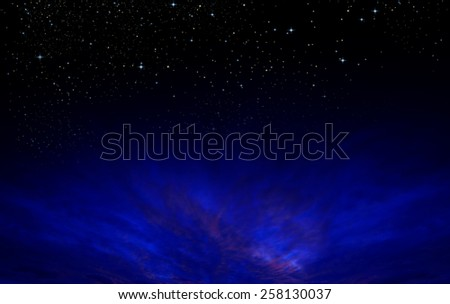 The clouds with dark sky, there are stars above as background  - stock photo